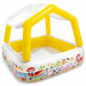 Intex 5ft x 48in Inflatable Ocean Scene Sun Shade Kids Swimming Pool With Canopy