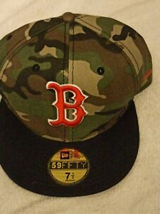 Boston red Sox new era fitted hat size 7 12 camouflage