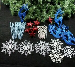 LOT 38 CHRISTMAS TREE & GIFT ORNAMENTS ~ ICICLES, STARS, SNOWFLAKES & REINDEER