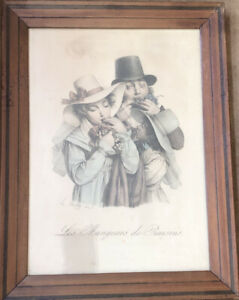 Antique 19th Century Framed Litho Print Les Mangeurs De Raisins By Boilly 1824 $150.00