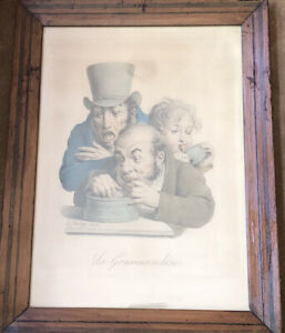 Antique 19th Century Framed Litho Print La Gourmandise By Boilly $150.00