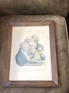 Antique 19th Century Framed Litho Print Les Mangeurs D' Huitres By Boilly 1825 $150.00