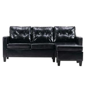 Hot Sectional Sofa Set PU Leather L shaped Chaise Couch for Living Room Black