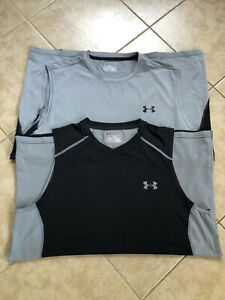Lot of 2 Mens UNDER ARMOUR Sleeveless Tops Size XL Black and Gray LOOK! $6.50