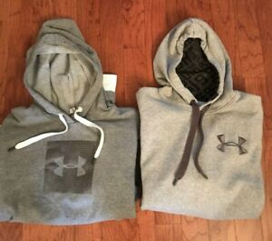 LOT Of 2 Under Armour Men's Gray Hoodie Pullover Sweatshirts Size XL $9.99