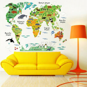 Animal World Map Kids Wall Sticker Poster Removable Art Nursery Baby Room Decor $9.31