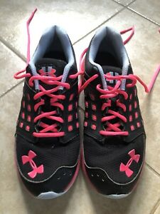 Womens UNDER ARMOUR Micro G Running Shoes Size 6.5 Black and Pink LOOK! $4.00