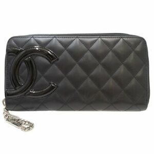 Authentic CHANEL Cambon Zip Around Wallet A50078 Leather Black 047411 FREE SHIP $575.00