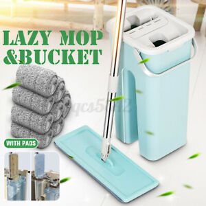 Squeeze Mop And Bucket Hand Free Flat Floor Self Cleaning Microfiber Mop Pad D