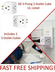 2 x GE Cubed Outlet Wall Tap Grounded 3 Prong Turn 1 Outlet into 3 - UL Listed