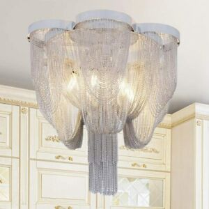 Large Chrome and Nickel Flush Mount Ceiling Light Modern Contemporary Chandelier