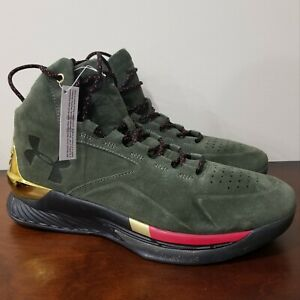 Under Armour Steph Curry 1 Suede Green Gold Men's Shoes Size 10.5 1296617 330 $50.00