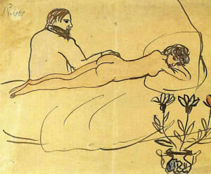 Nude with Picasso by her feet 1903 Signed Picasso 17quot;x22quot; Fine Art Print 00436 $79.99