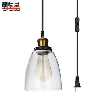 Pendant Light with Plug in Cord and Switch with Strong Glass Shade for Kitchen