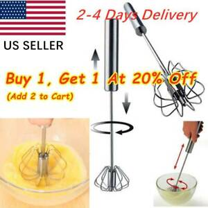 Stainless Mixer Egg Beater Semi-Automatic Manual Milk Whisk Tool Rotary US SALE