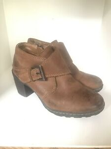 Womens Born Brown Leather Ankle Boots Zip 6.5 37 $13.50