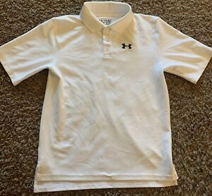 Boy's UNDER ARMOUR White Polo Golf Shirt Size Youth Medium YMD NWOT $14.00