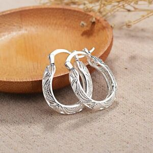925 Sterling Silver Filigree Round Oval Unique Hoop Earrings $4.99