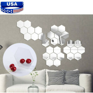 12Pcs 3D Mirror Removable Wall Stickers Hexagon Vinyl Decal Home Decor Art DIY