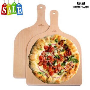 11.8quot; x 16.5quot; Wooden Pizza Peel Paddle Peeler Cake Lifter Handle Oven Spatula 2x