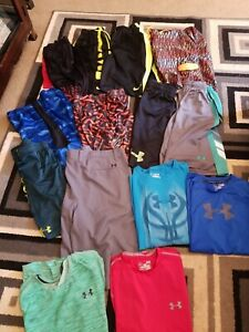 Lot 16 Pieces Youth Boys Under Armour Nike Dri Fit T Shirts Shorts Size L XL $26.00