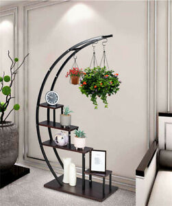 GOOD LIFE 5 Tier Metal Plant Stand Creative Half Moon Shape Ladder Flower Pot St $99.99