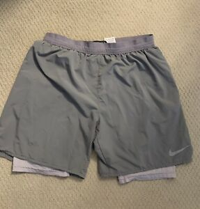 "Nike Flex Dri Fit Stride 7"" Lined Running Shorts Gray Men's Large $30.00"
