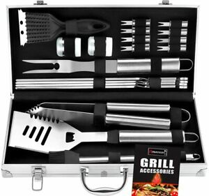 20pc Heavy Duty BBQ Grill Tool Set in Case The Very Best Grill Gift on Birthday