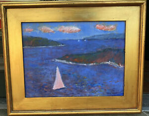 ABSTRACT SEASCAPE Original Art Oil On Canvas Framed By Listed Artist $160.00
