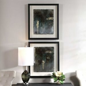 Abstract Contemporary Art Hand Painted Metal Sheets Framed Art Set 2 Uttermost