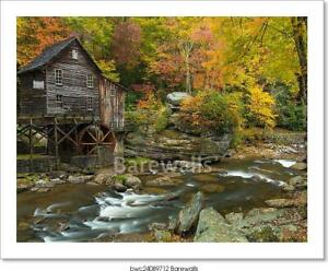 Grist Mill Waterfalls Art Print / Canvas Print. Poster, Wall Art, Home Decor - D