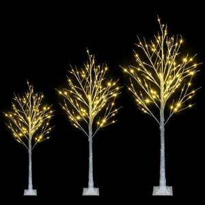 4 6 Ft Christmas Xmas White Birch Snow Tree w LED Lights Outdoor Party Decor US