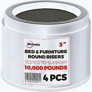 """iPrimio Bed and Furniture Risers – 4 Pack Round Elevator up to 3"""" amp; Lifts Up to"""