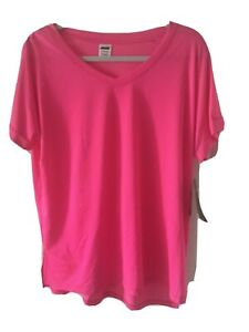 Avia Size XXL Pink With White Dots Short Sleeve Top Nwt