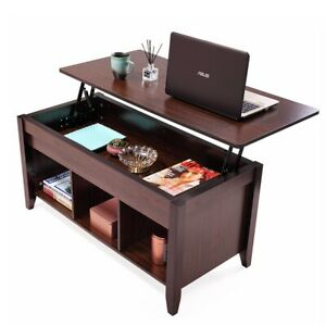 Lift Top Coffee Table w Hidden Compartment and Storage Shelves FurnitureWooden