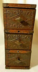 Set of 3 Antique Sewing Machine Drawers Arts and Crafts Look Drawers with Frame $60.00