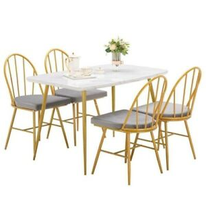 5 Piece Marble Dining Table Set 4 Chairs Kitchen Dining Room Breakfast Nook