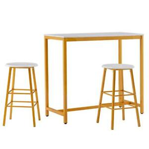 Pub Table Set 3 Piece Marble Bar Stools Kitchen Furniture Counter Height Chairs