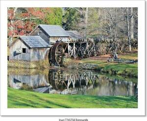 Mabry Mill Reflection Art Print / Canvas Print. Poster, Wall Art, Home Decor - J