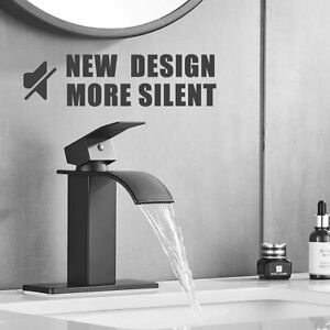 Brushed Nickel LED Bathroom Sink Faucet Single Handle Waterfall Spout Mixer Tap