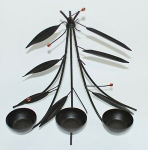 Chinese Metal Bamboo Candle Holder Set Alone or Wall Hanging Decoration Black