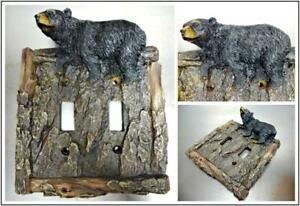 Black Bear Faux Wood Tree Bark Double Light Switch Cover Plate Cabin Lodge Deco. $14.95
