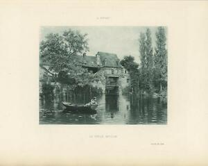 ANTIQUE FISHING WOMAN FISH POLE ROW BOAT WATER MILL HOUSE MOULIN FRANCE PRINT