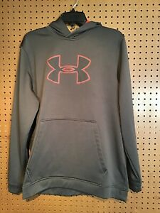 Under Armour Men's Sz Large Cold Gear Hoodie, Gray & Red, EUC, #16 $7.90