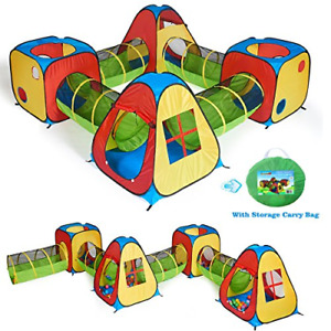 UTEX 8 in 1 Pop Up Children Play Tent House with 4 Tunnel 4 Tents for Boys and