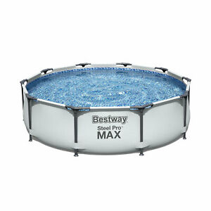 Bestway 10 x 30 Steel Pro Frame Max Round Above Ground Swimming Pool with Pump