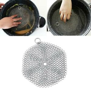 Stainless Steel Cast Iron Cleaner Chain mail Scrubber Tool Cookware Kitchen M4O5