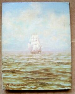 ANTIQUE NAUTICAL PAINTING.  SHIP ON HIGH SEAS OIL ON CANVAS SIGNED A. DAVIDSON  $99.00
