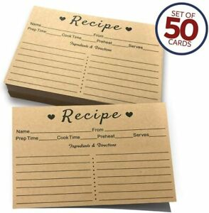 Recipe Cards 50 Double Sided Cards 4x6 inches Thick Card Stock Easy To Write