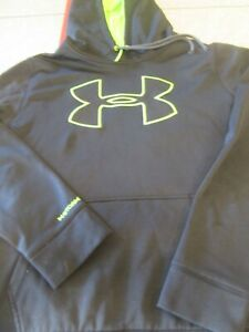 Mens Under Armour Hoodie Men's Size Large Black Lime Green GUC $20.00
